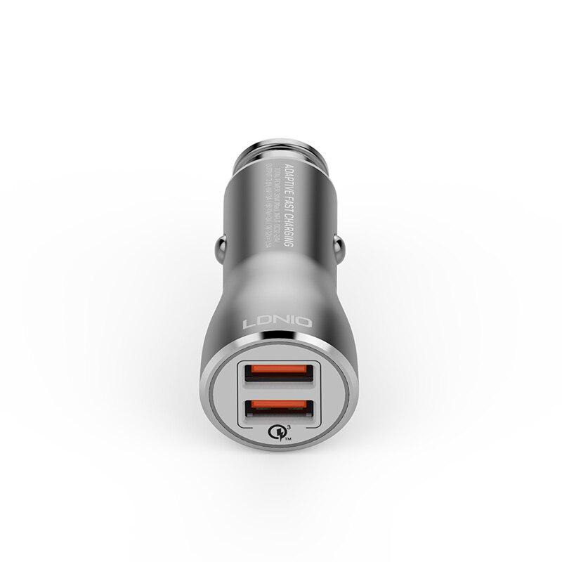 Auto punjač LDNIO C407Q Quick Charge 3.0 2xUSB 3.6V 3A sa type C kablom sivi