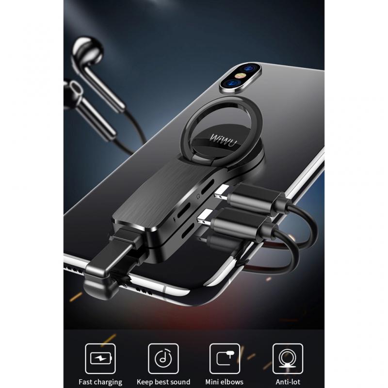 Adapter Wiwu za slušalice i punjenje iPhone lighting crni