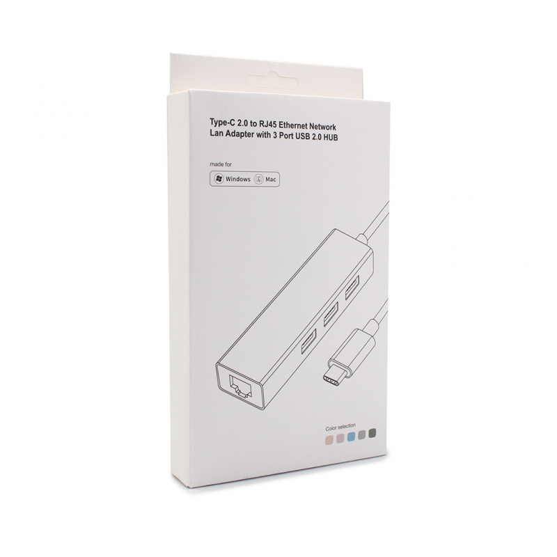 Adapter Type C - USB 2.0 na 3 porta RJ45 beli