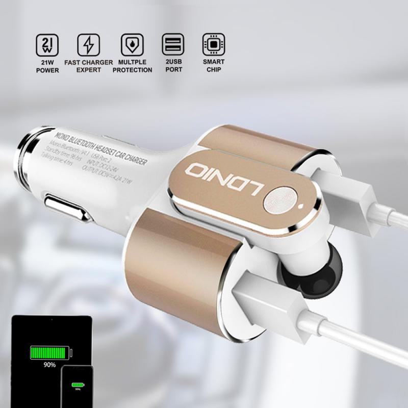 Auto punjač LDNIO CM22 dual USB 4.2A sa Bluetooth slusalicom beli