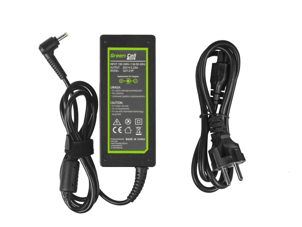 Green Cell PRO Charger  AC Adapter for Lenovo 65W / 20V 3.25A / 4.0mm-1.7mm
