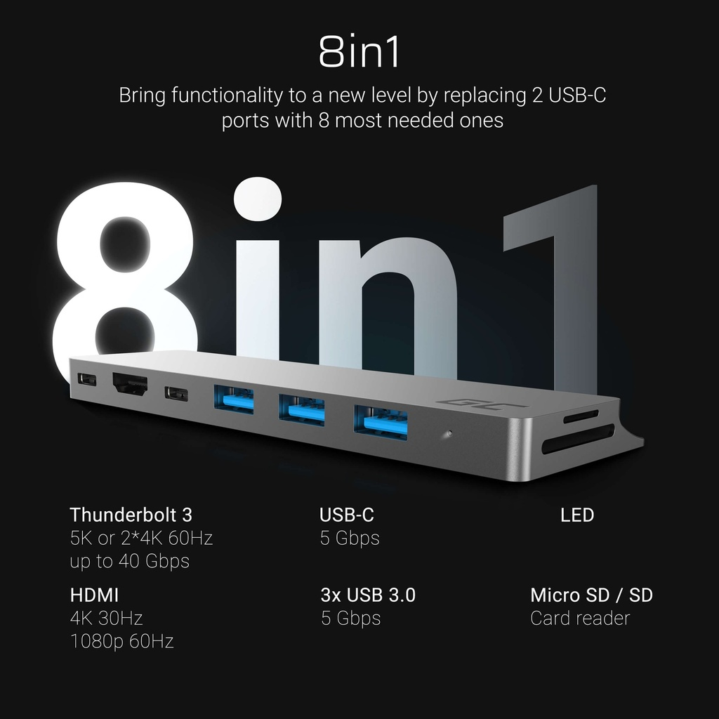 Adapter Green Cell HUB Connect60 8in1 (Thunderbolt 3, USB-C, HDMI, 3x USB 3.0) for Apple MacBook Air 2018, Pro 2016 and newer