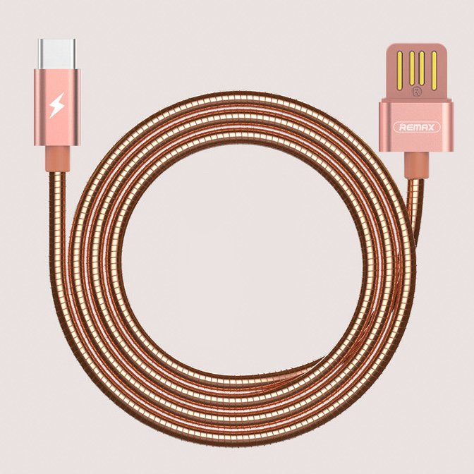 Remax Silver Serpent RC-080a USB / USB Type C Cable with Durable Metal Braid  2.1A 1M gold