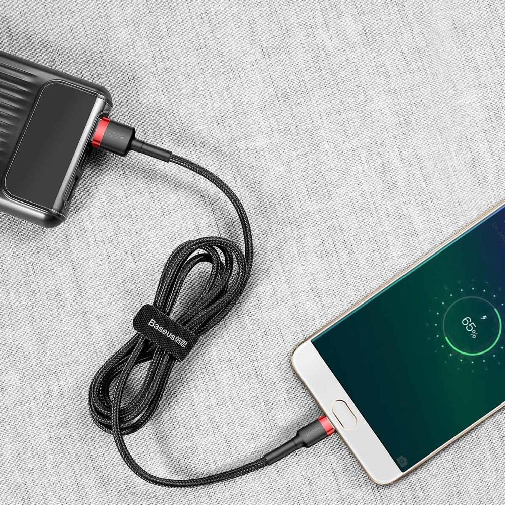 Baseus Cafule Cable Durable Nylon Braided Wire USB / micro USB QC3.0 2.4A 1M black-red (CAMKLF-B91)