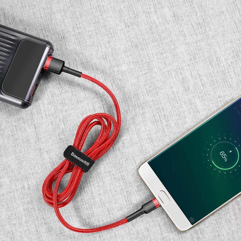 Baseus Cafule Cable Durable Nylon Braided Wire USB / micro USB QC3.0 2.4A 1M red (CAMKLF-B09)
