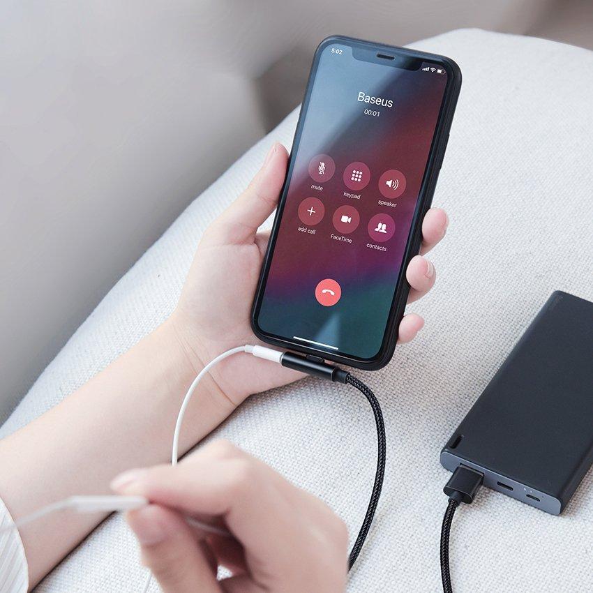 Baseus Rhythm Bent - Elbow Cable USB / Lightning with Audio adapter Connector 2.4A 0.5m Black (CALLD-B01)