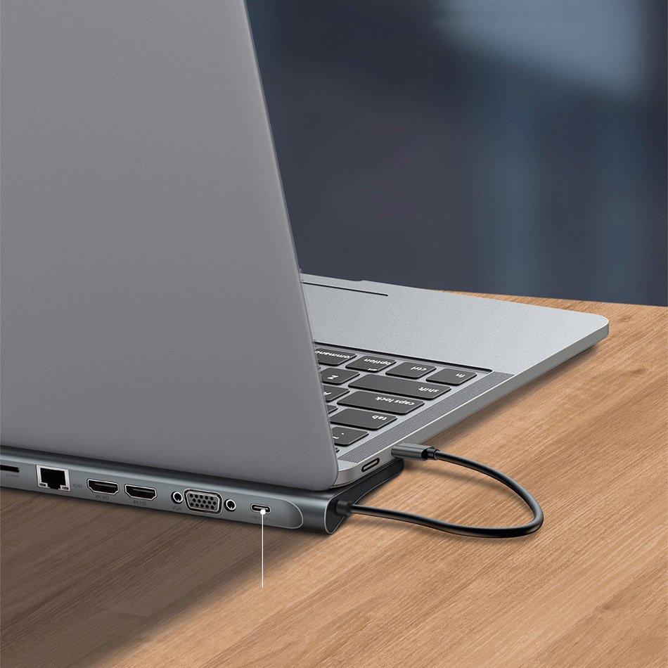 Baseus Enjoyment MacBook / notebook stand HUB USB Typ C PD / VGA / HDMI / RJ45 / USB 3.0 / SD, TF, micro SD card reader Dark for MacBook / PC gray (CATSX-G0G)