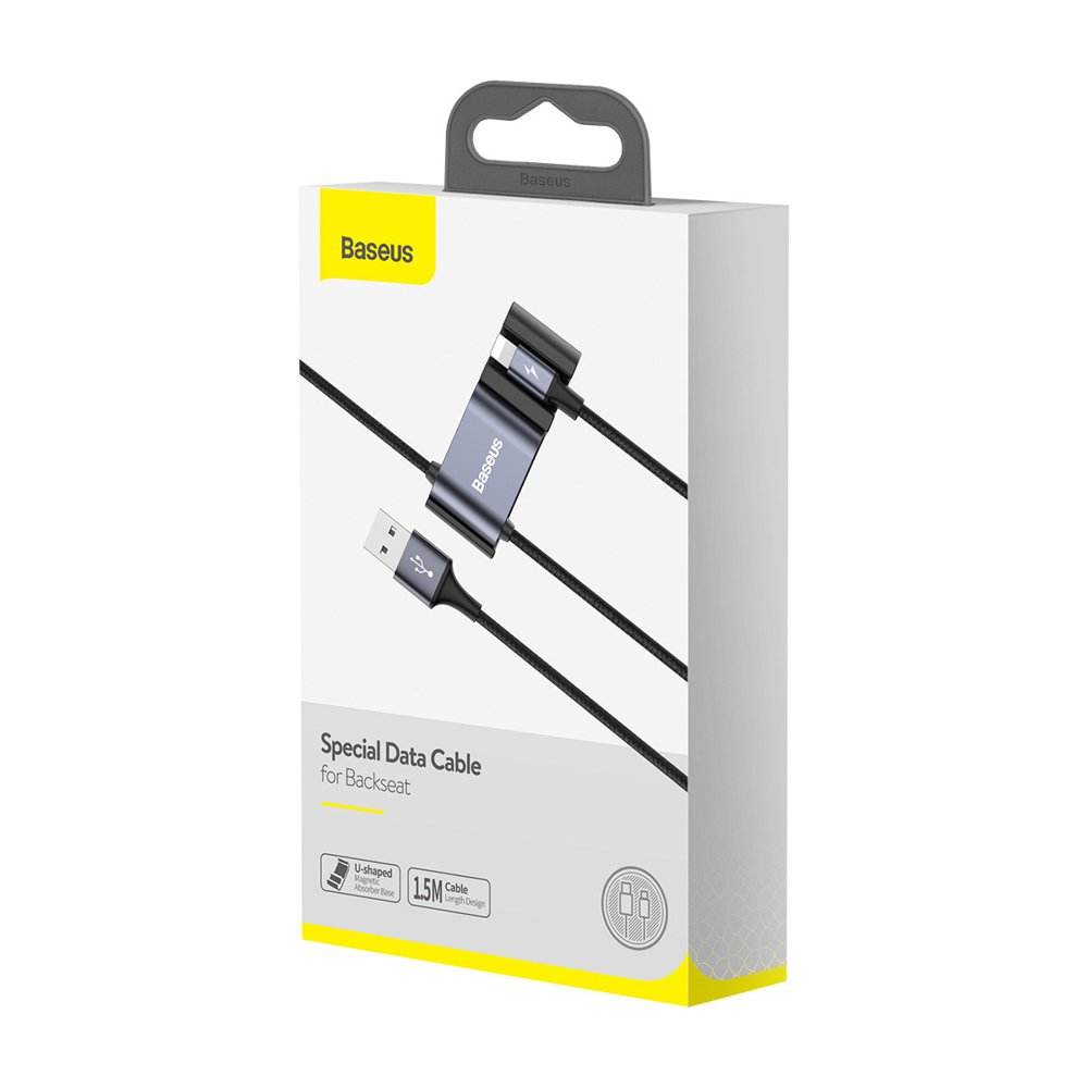Baseus Special Data Cable for Backseat USB to Lightning + 2x USB HUB black (CALHZ-01)
