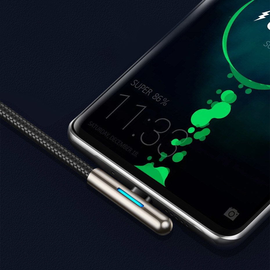 Baseus Mobile Game Elbow Cable USB Type C with Nylon Braid 4A 40W Huawei Super Charge 2m black (CAT7C-C01)