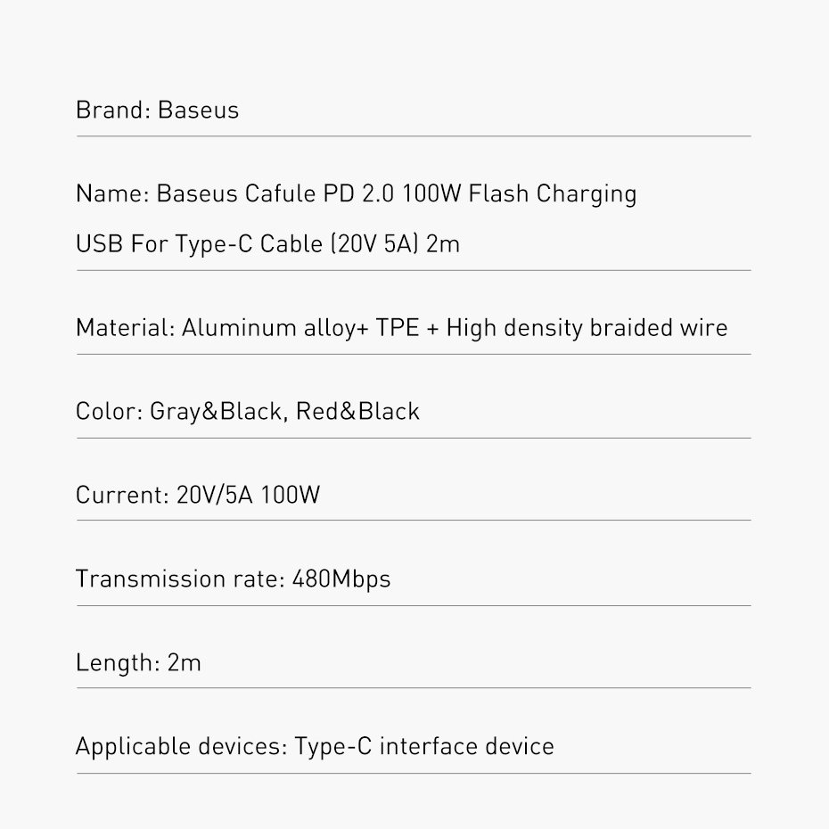 Baseus Cafule Cable Nylon Braided Wire USB Typ C PD Power Delivery 2.0 100W 20V 5A 2m gray (CATKLF-ALG1)