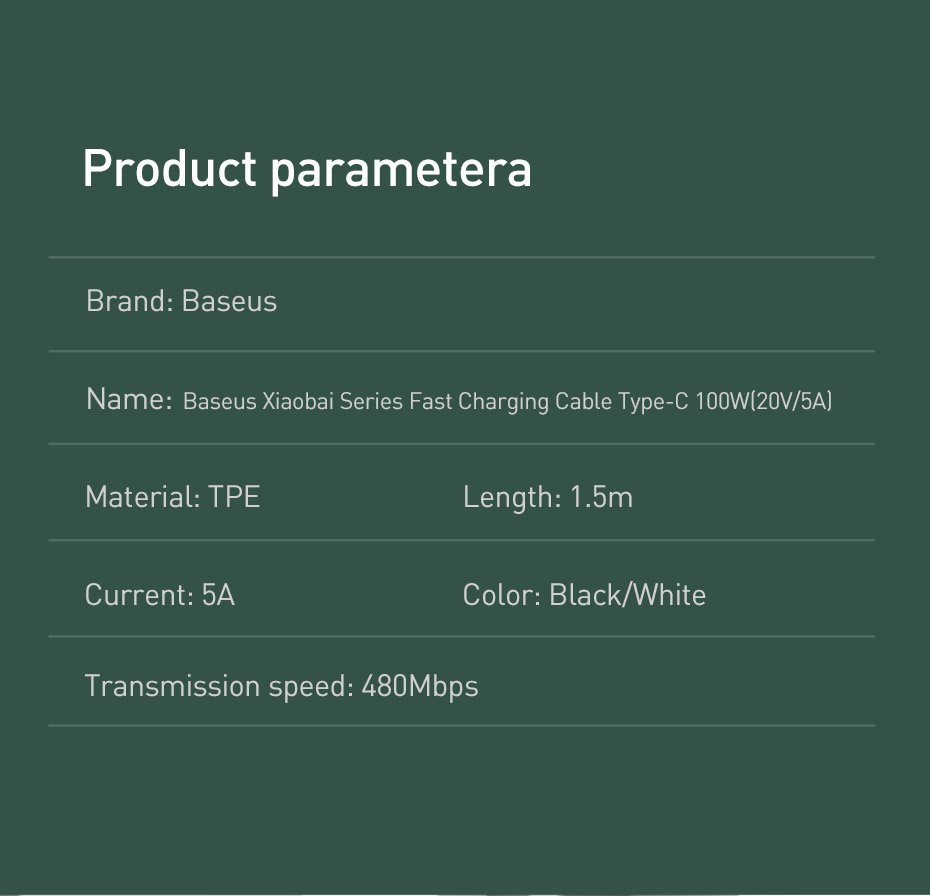 Baseus Xiaobai USB Type C - USB  Type C cable Quick Charge / Power Delivery / FCP 100 W 5 A 20 V 1,5 m black (CATSW-D01)
