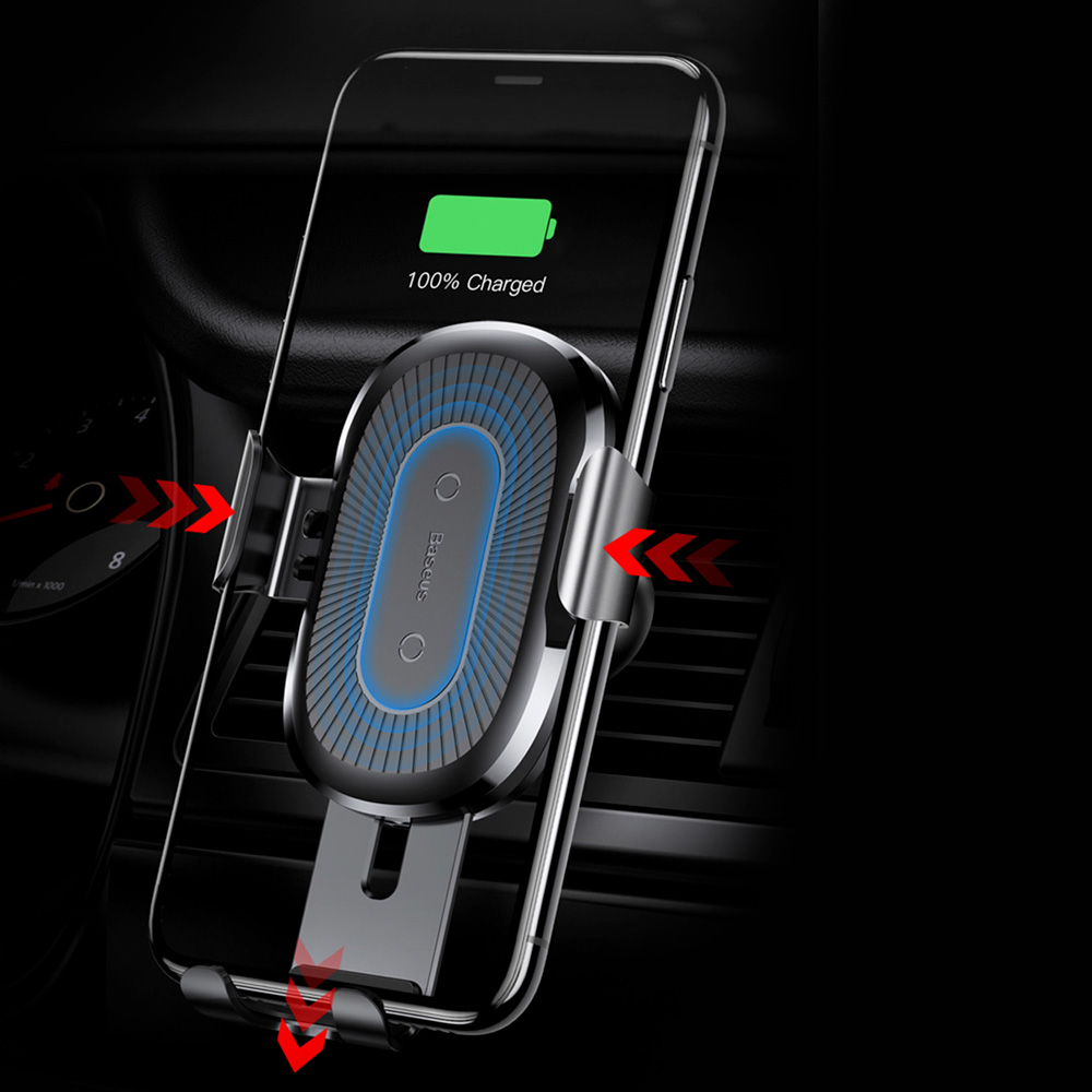 Baseus Wireless Charger Gravity Car Mount Phone Bracket Air Vent Holder + Qi Charger silver (WXYL-0S)
