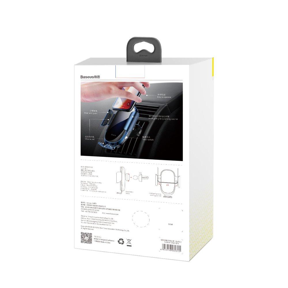 Baseus Smart Car Mount Gravity Air Vent Phone Bracket Electric Auto Lock Holder silver (SUGENT-ZN0S)