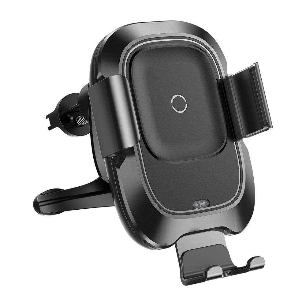 Baseus Smart Vehicle Bracket Wireless Charger Electric Auto Lock Car Mount Phone Bracket Air Vent Holder Qi Charger with Infrared Sensor black (WXZN-01)