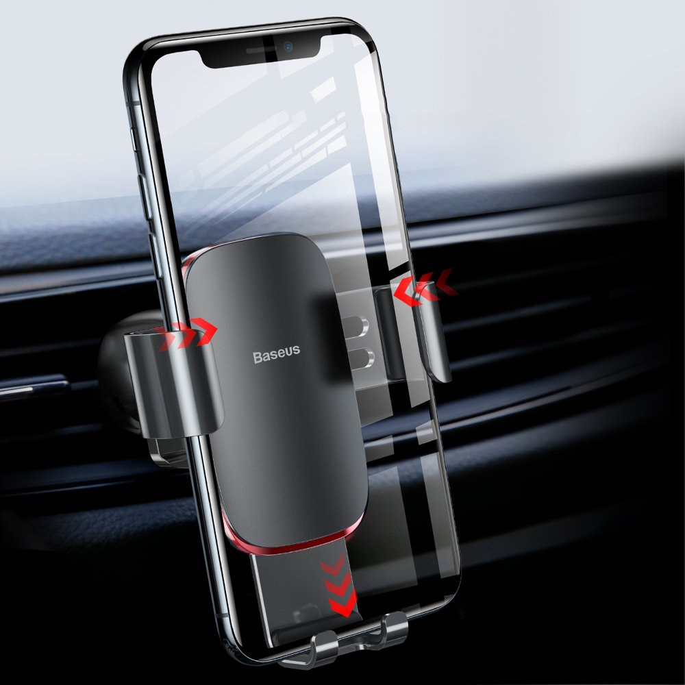 Baseus Metal Age Gravity Car Mount Phone Holder for Air Outlet black (SUYL-D01)