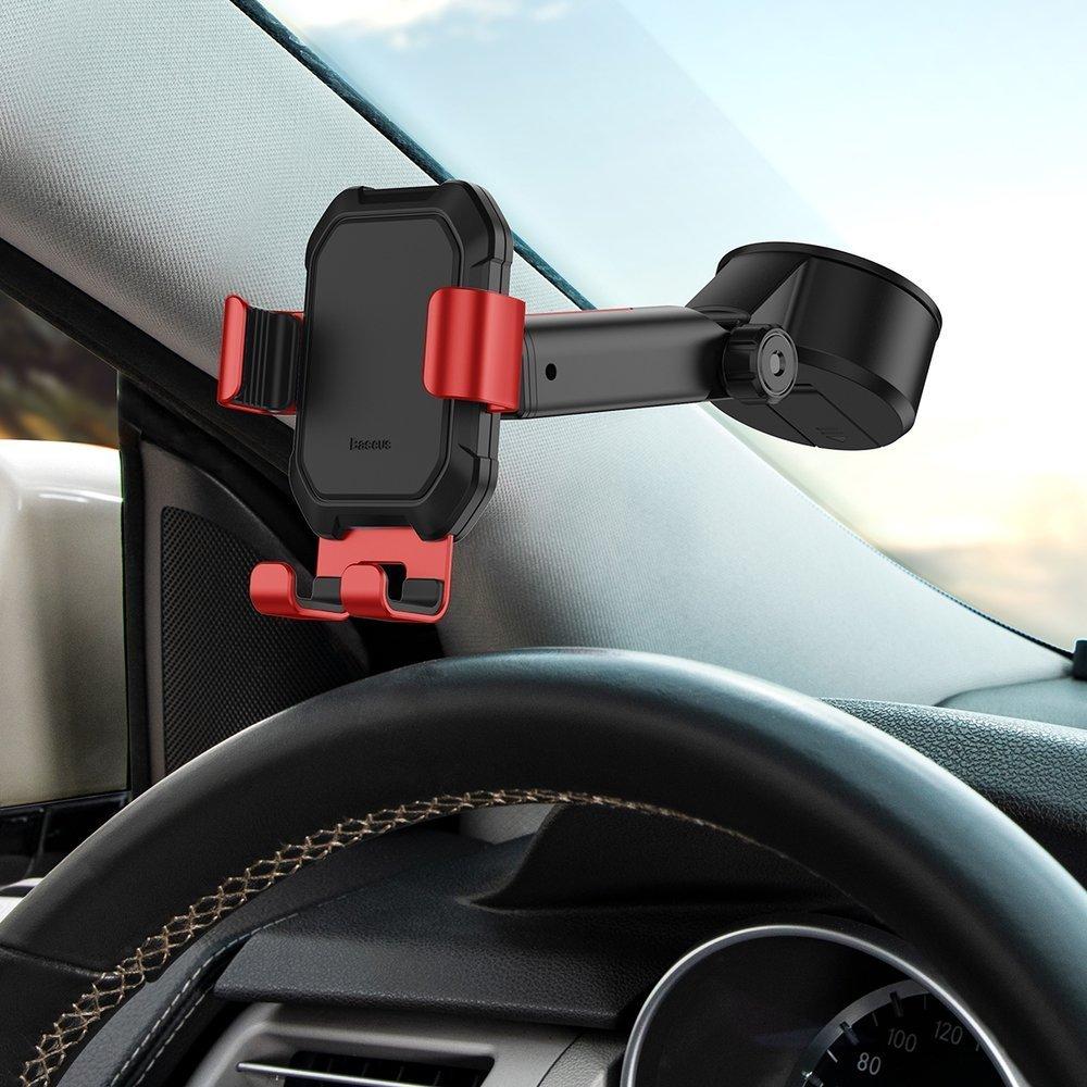 Baseus Gravity Car Mount Dashboard Windshield Phone Bracket Holder red (SUYL-TK09)