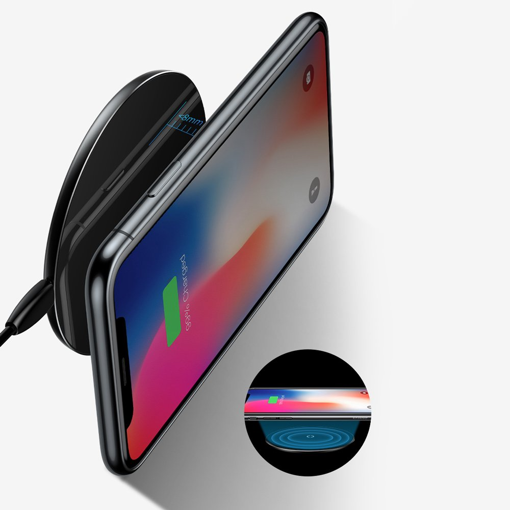 Baseus Simple Stylish Wireless Charger Qi Inductive Pad 2A 1.67A 10W with USB / Lightning Cable 1.2M black (CCALL-JK01)