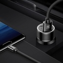 Baseus Small Screw 3.4A Universal Smart Car Charger 2x USB + USB Type-C cable 1m 2A black (TZXLD-B01)