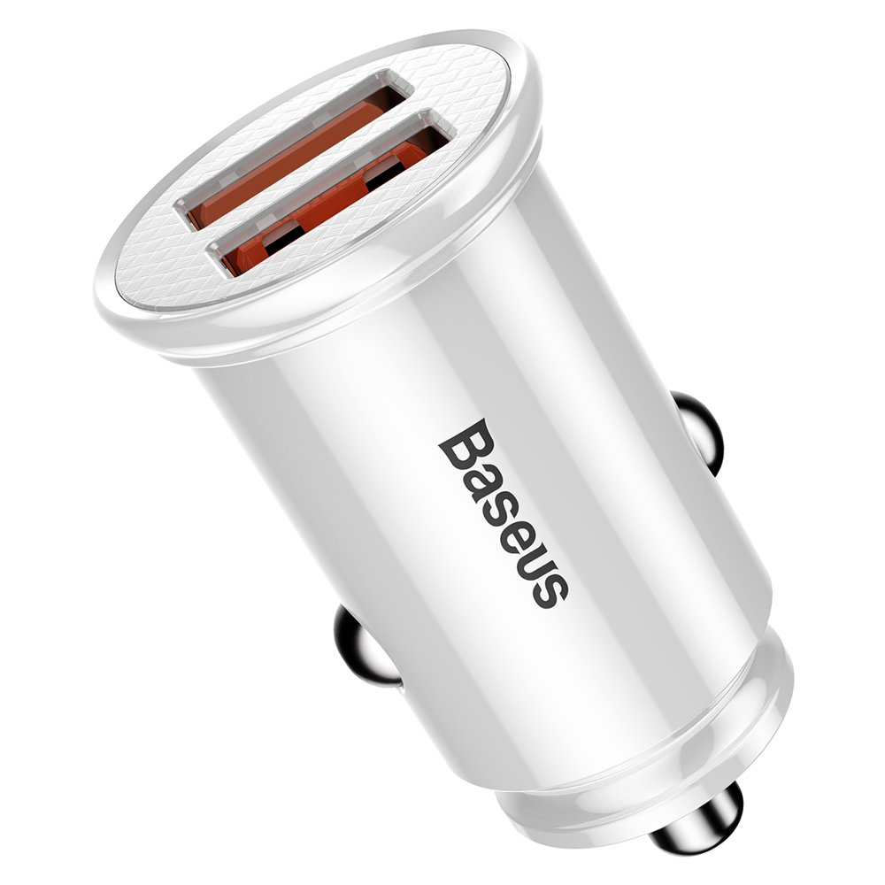 Baseus Circular Universal Smart Car Charger 2x USB QC3.0 Quick Charge 3.0 SCP AFC 30W white (CCALL-YD02)