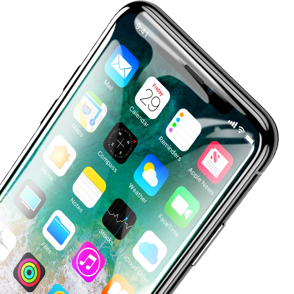 Baseus PET Soft 3D Tempered Glass Film Full Screen Protector with PET Rim for Apple iPhone 11 Pro / iPhone XS / iPhone X 0,23 mm black (SGAPIPHX-KA01)