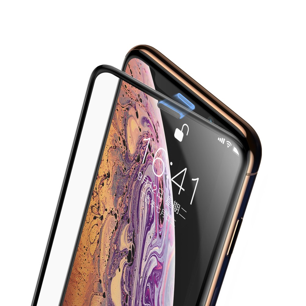 Baseus Full-screen Full Coverage 3D Tempered Glass Film with Speaker Dust Protector for Apple iPhone 11 Pro / iPhone XS / iPhone X black (SGAPIPH58-WA01)