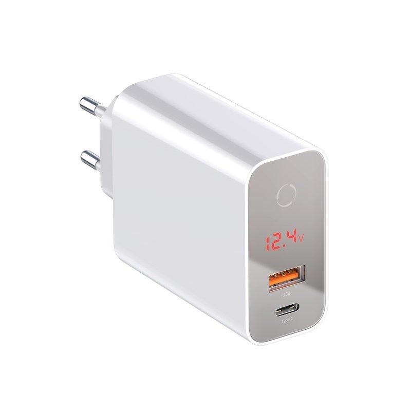 Baseus Speed PPS Intelligent Power-off & Digital Display Quick Charger PD3.0+QC3.0 45W (Type-C+USB) EU White (CCFSEU907-02)