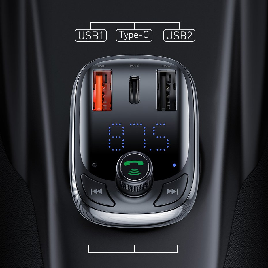Baseus Bluetooth 5.0 FM Transmitter Car Charger Quick Charge 4.0 Power Delivery USB Typ C / microSD 5A black (CCTM-B01)