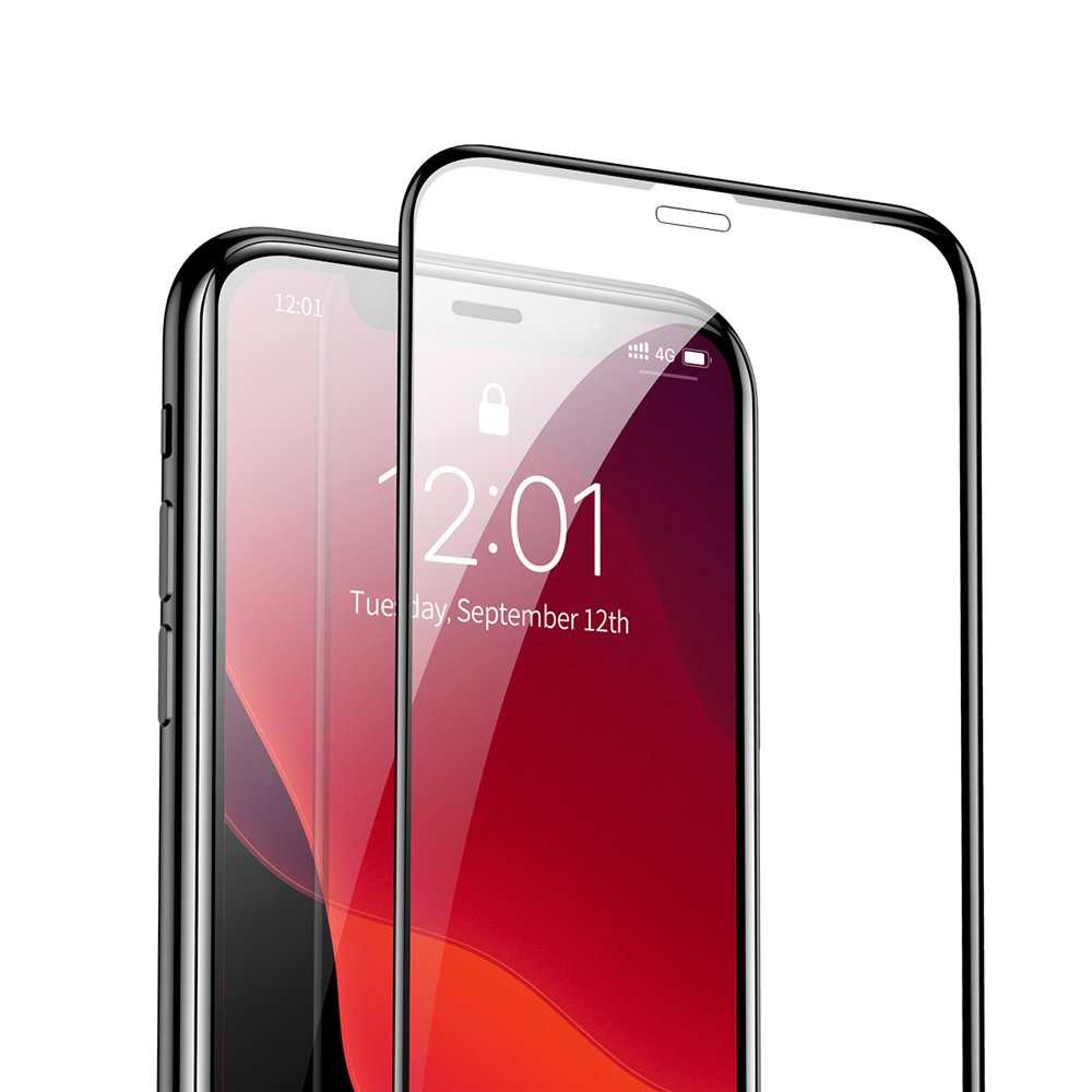Baseus 0.3mm Full-screen and Full-glass Tempered Glass Film (2pcspack+Pasting Artifact) for iP 5.8inch (2019) Black (SGAPIPH58S-KC01)
