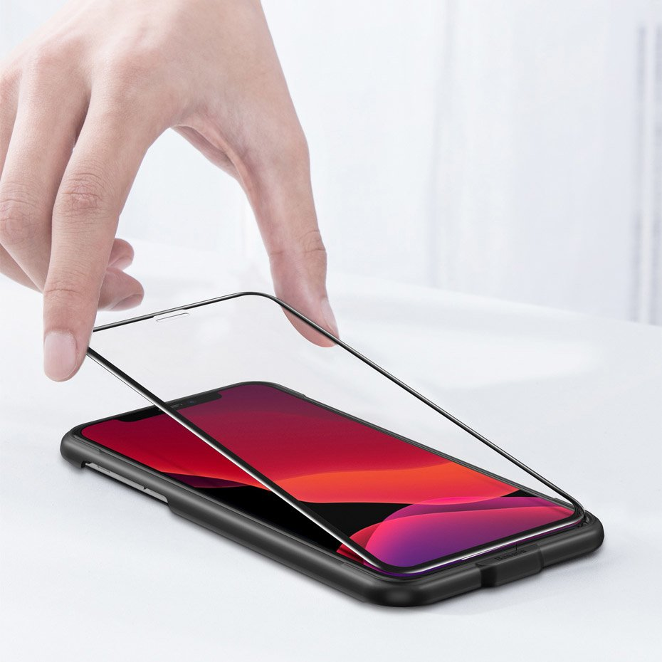 Baseus 0.3mm Full-screen and Full-glass with anti-blue light Tempered Glass Film (2pcspack+Pasting Artifact) for iP 5.8inch (2019) Black (SGAPIPH58S-KD01)