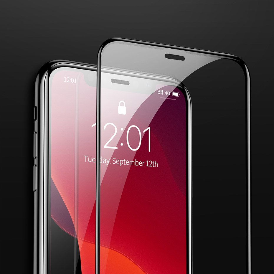 Baseus 0.3mm Full-screen and Full-glass Tempered Glass Film (2pcspack+Pasting Artifact) for iP 6.5inch (2019) Black (SGAPIPH65S-KC01)
