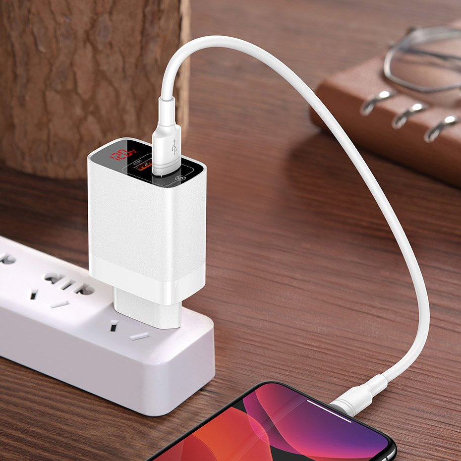 Baseus Mirror Lake PPS Travel Wall Charger with Voltage / Power Display Quick Charge 3.0 Power Delivery 3.0 USB / USB Type C 18W white (CCJMHC-A02)