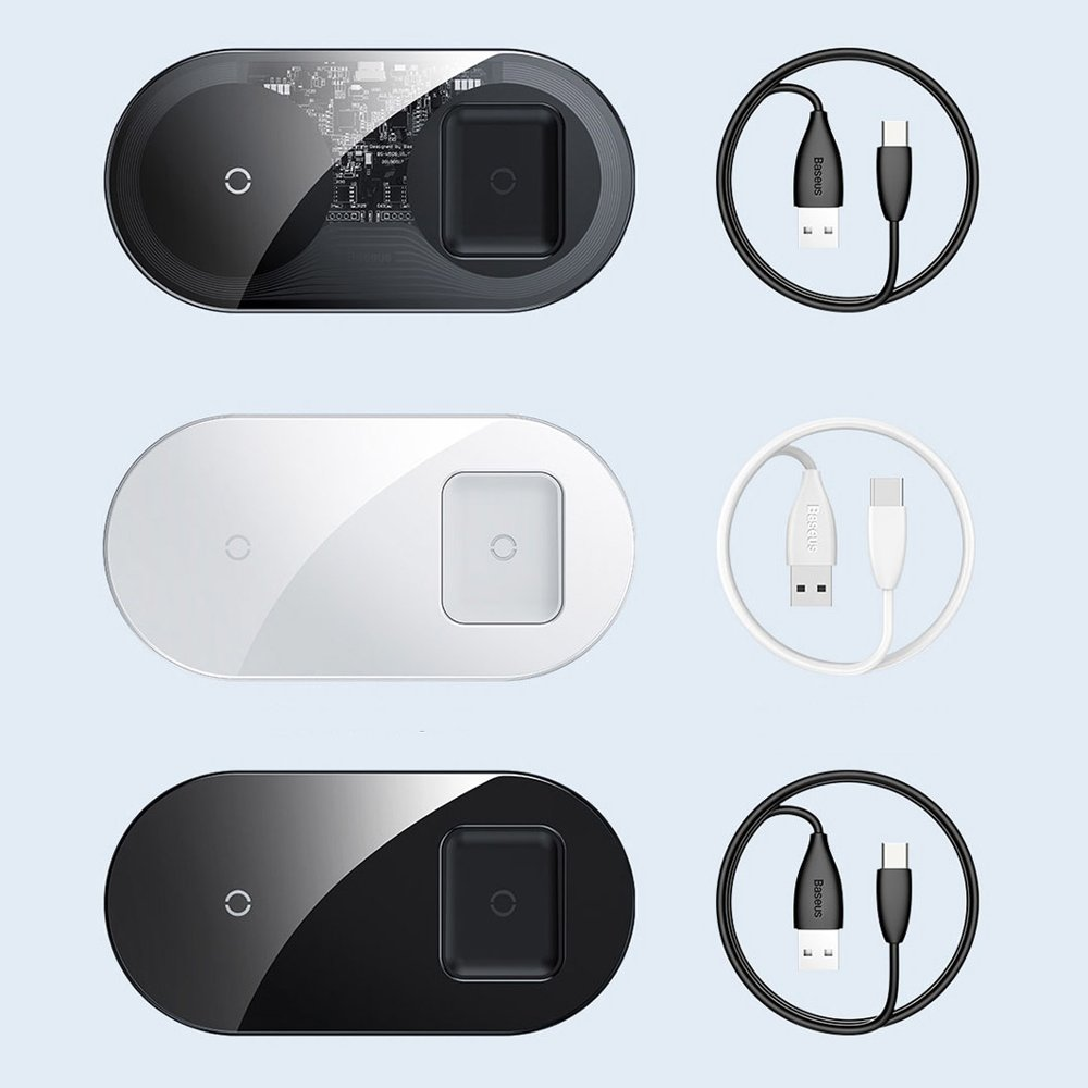 Baseus Simple 2in1 Wireless Charger Qi Charger for Smartphones and AirPods 15W transparent-black (WXJK-A01)