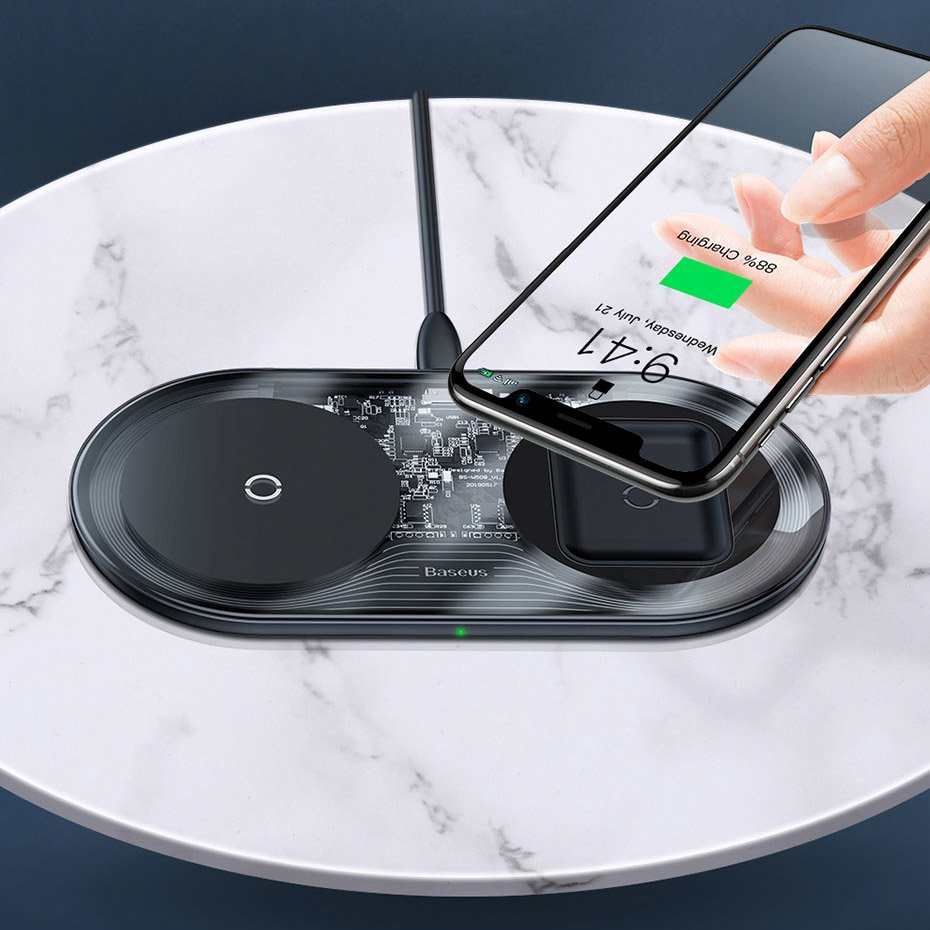 Baseus Simple 2in1 Wireless Charger Qi Charger for Smartphones and AirPods 15W black (WXJK-01)