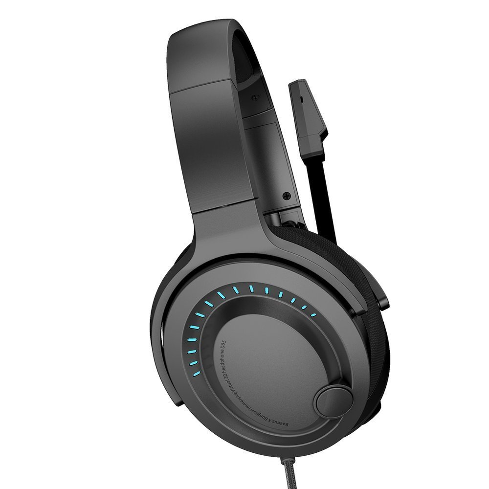 Baseus GAMO USB circumaural headphones with microphone and remote control for players black (NGD05-01)