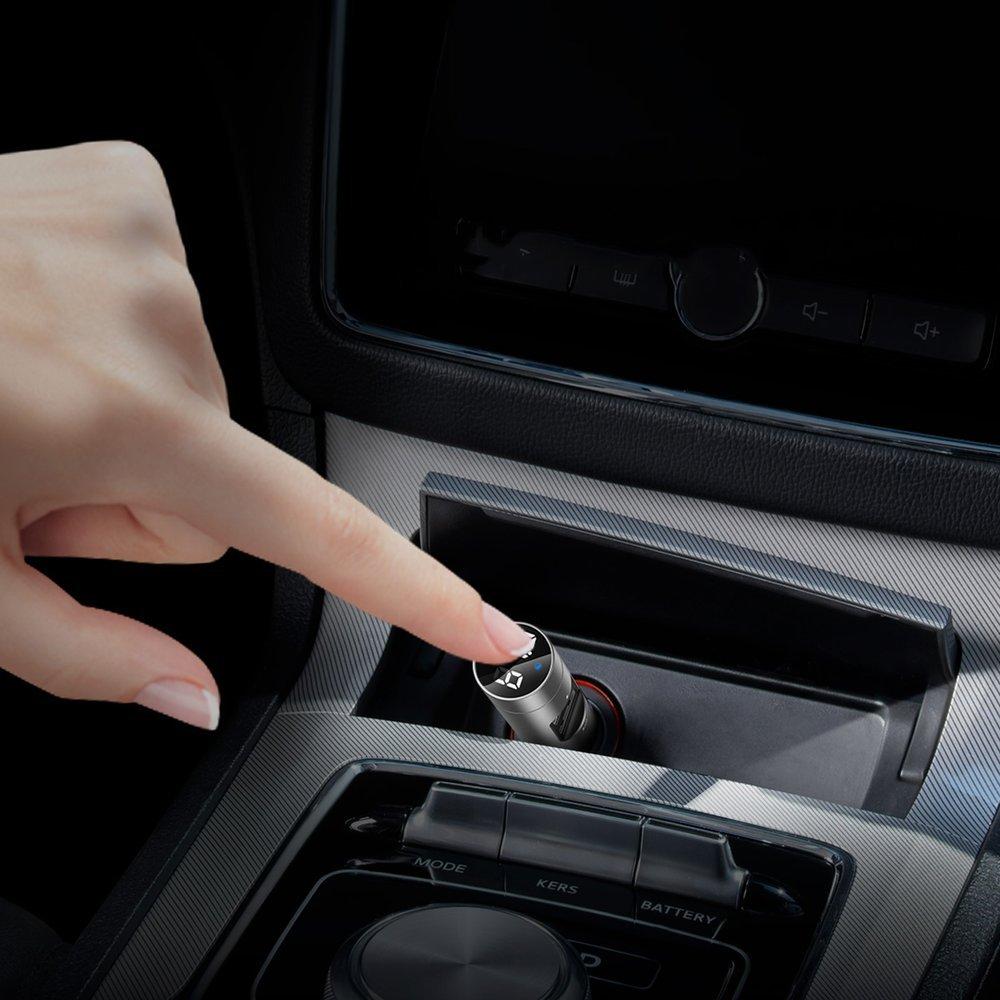 Baseus Energy Column Bluetooth FM Transmitter MP3 Car Charger 2x USB QC3.0 3,1A gray (CCNLZ-0G)