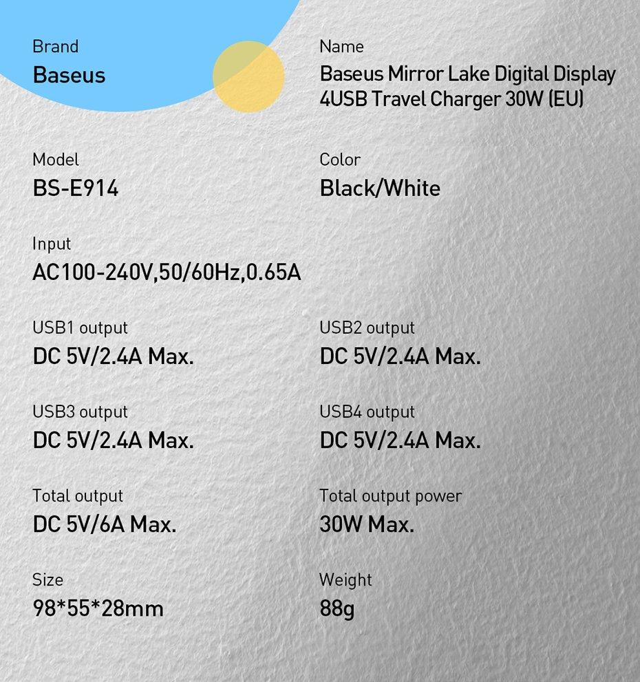 Baseus Mirror Lake Digital Display 4x USB Travel Charger 30W 6A EU white (CCJMHB-B02)
