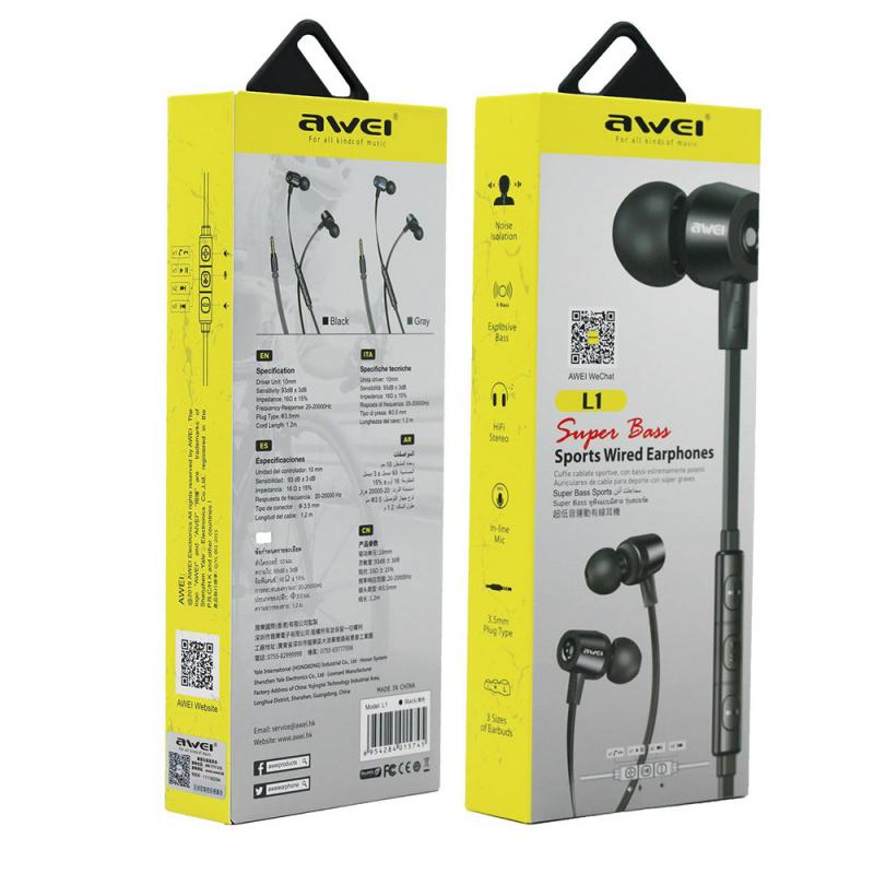 AWEI L1 headphones black 3.5mm