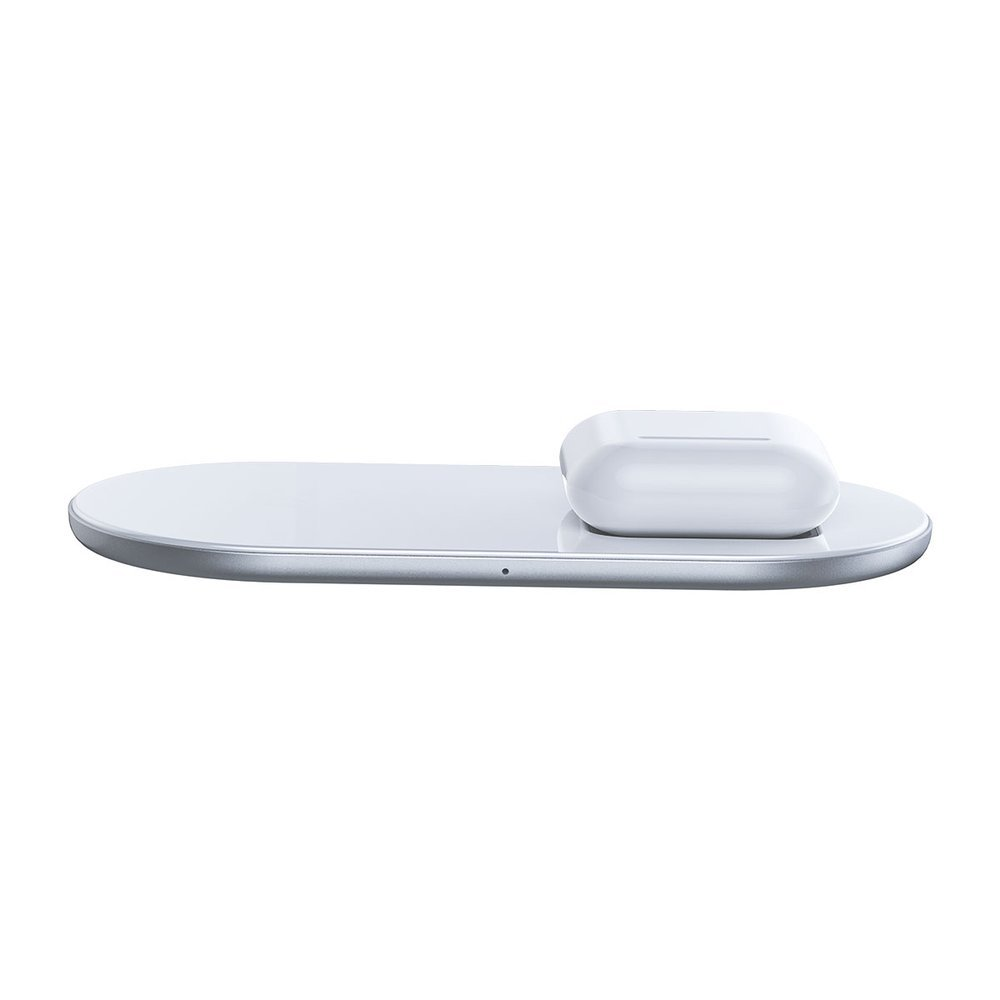 Baseus Simple Pro 2in1 Wireless Charger Qi Charger for Smartphones and AirPods 15W white (WXJK-C02)