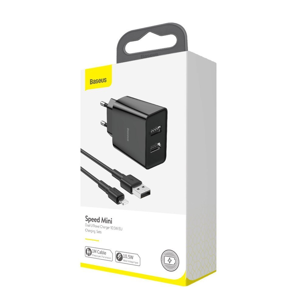 Baseus fast wall charger travel adapter 2x USB 10,5 W 2,1 A + USB - Lightning cable 2,4 A 1 m black (TZCCFS-R01)
