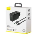 Baseus USB / USB Typ C fast wall charger VOOC Quick Charge 4.0+ Power Delivery 3.0 + USB - USB Type C cable 1m black (TZCCFS-H01)