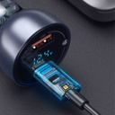 Baseus car charger USB / USB Type C 65 W 5 A SCP Quick Charge 4.0+ Power Delivery 3.0 LCD display + USB Typ C - USB Typ C cable transparent (CCKX-C0A)