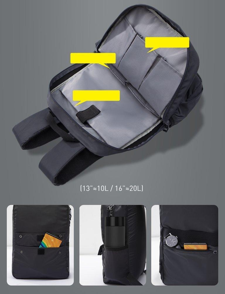 "Baseus Basics Series 13"" Computer Laptop Backpack white (LBJN-E02)"