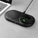 Baseus Planet 3in1 10 W Wireless Qi Charger for Smartphones / AirPods / Apple Watch + wall charger 12  / 3 A + USB Type C cable 3 A 1 m black (WXPL-B01)