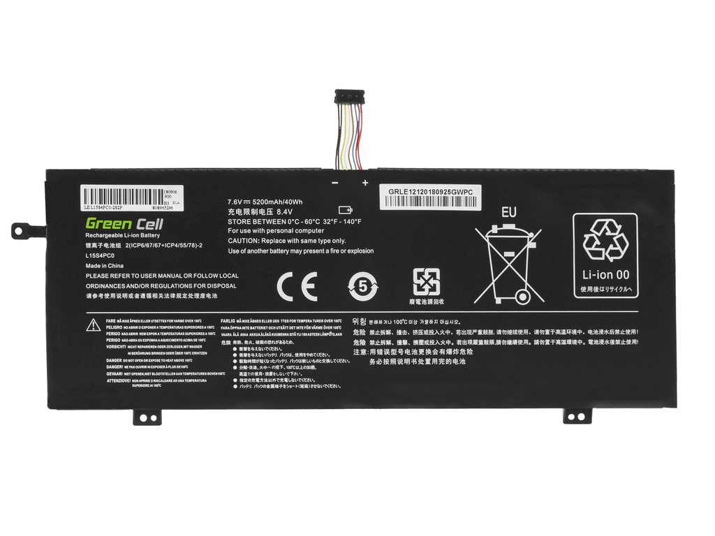 Green Cell Battery for Lenovo V730 V730-13 Ideapad 710s Plus 710s-13 / 7,6V 3200mAh