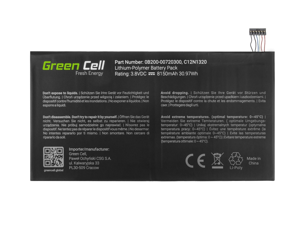 Battery Green Cell C12N1320 for Asus Transformer Book T100T T100TA T100TAF T100TAM