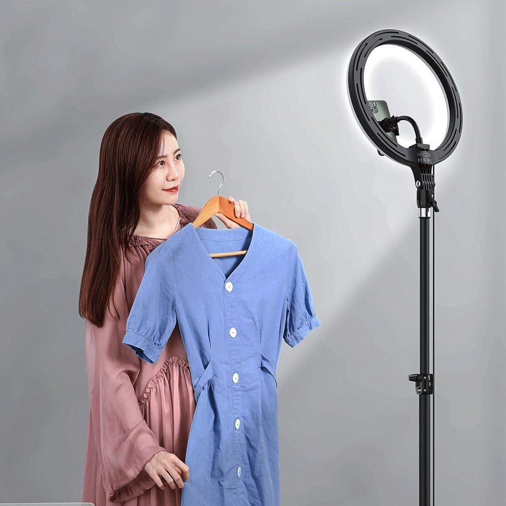 Baseus photo ring flash fill light LED lamp 12'' for smartphone (YouTube, TikTok) + high tripod stand black (CRZB12-B01)