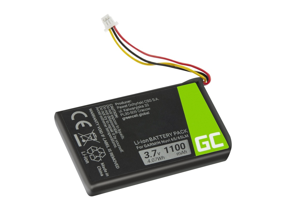 Battery Green Cell® 361-00056-01 for GPS Garmin Nuvi 55 55LM 56 65 65LM 66 66LM