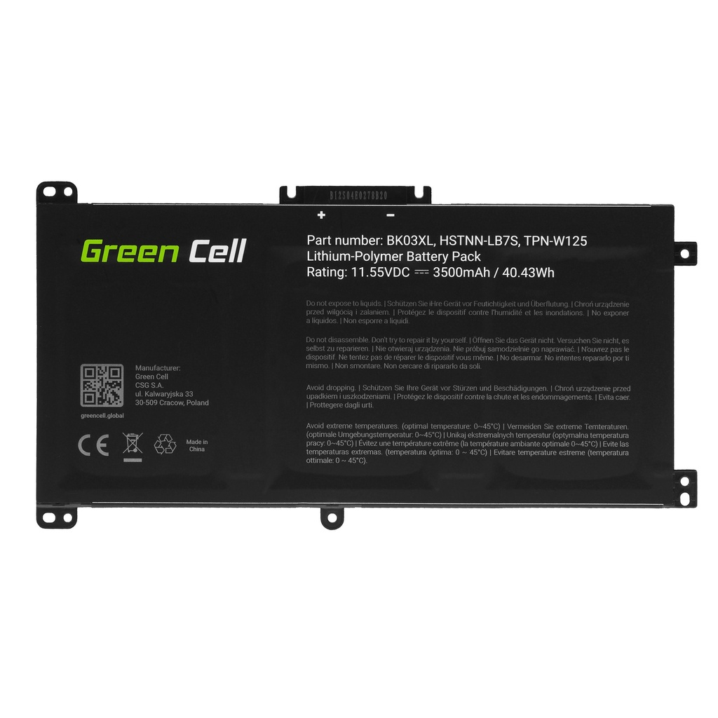 Battery Green Cell BK03XL for HP Pavilion x360 14-BA 14-BA015NW 14-BA022NW 14-BA024NW 14-BA102NW 14-BA104NW