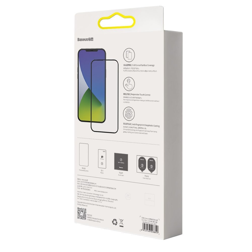 Baseus 2x Full screen 0,3 mm tempered glass with a frame iPhone 12 Pro / iPhone 12 Black (SGAPIPH61P-KA01)