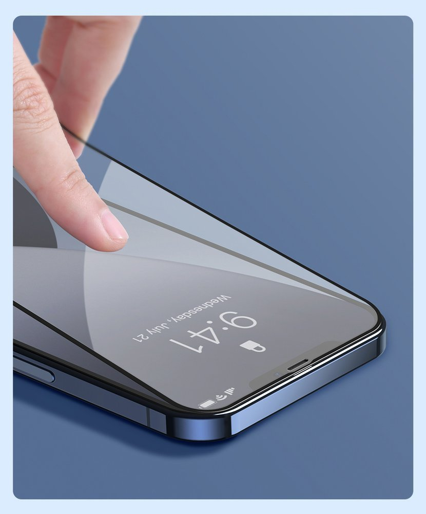 Baseus 2x Full screen 0,25 mm tempered glass with a frame iPhone 12 Pro Max Black (SGAPIPH67N-KC01)